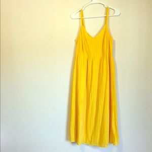 Old Navy Yellow and White Striped V Neck Dress